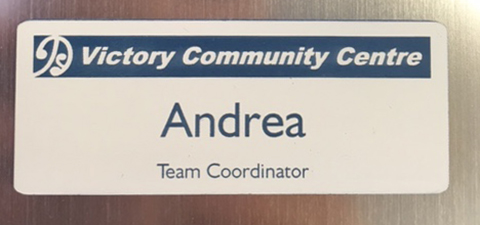 Name Plate Engravers name badge Victory community Centre