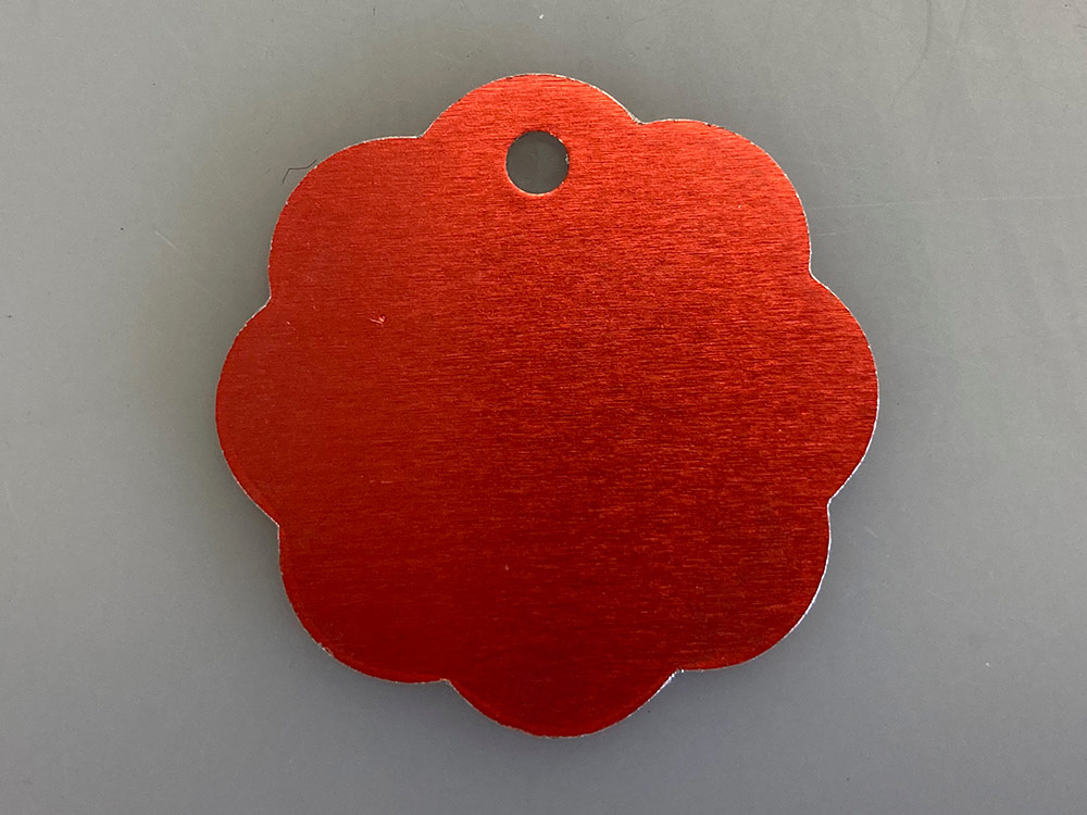 Pet Tag red flower shape